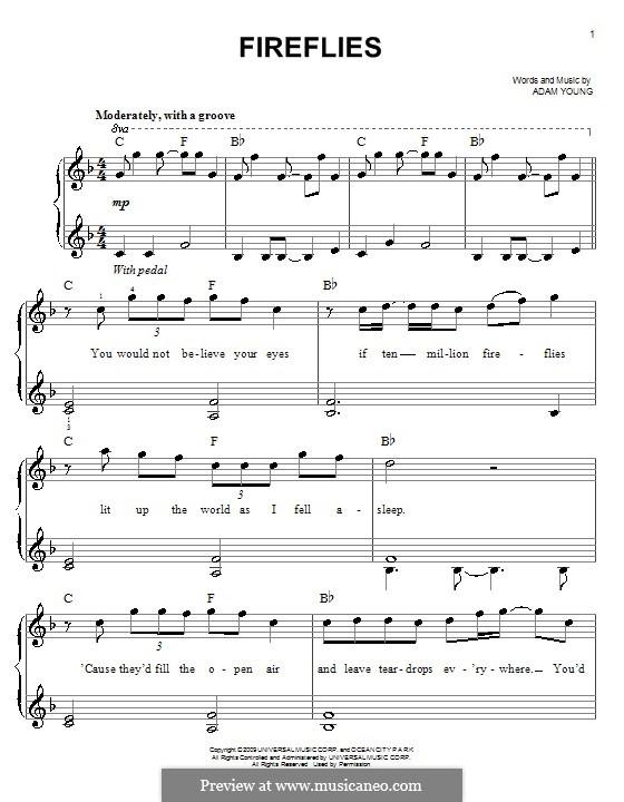 Fireflies (Owl City): Для фортепиано (легкий уровень) by Adam Young