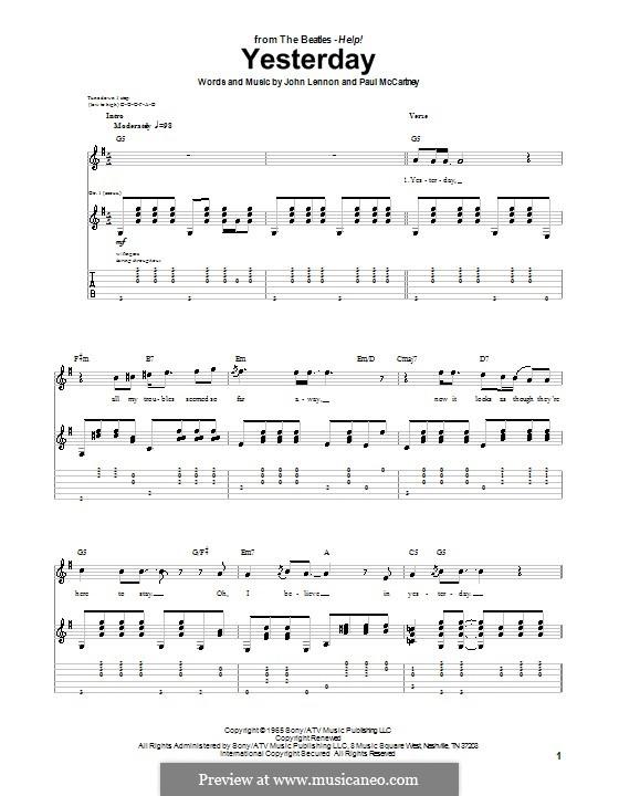 Yesterday (The Beatles): Гитарная табулатура by John Lennon, Paul McCartney