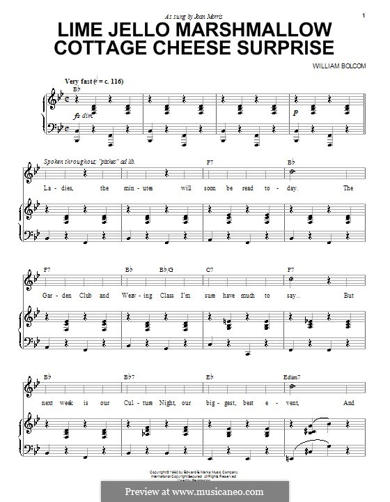 Lime Jello Marshmallow Cottage Cheese Surprise: Для голоса и фортепиано (или гитары) by William Bolcom