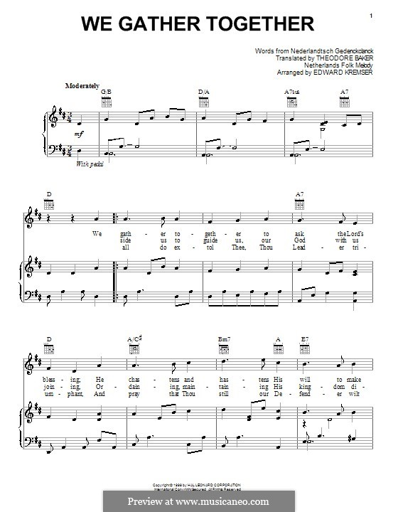 We Gather Together: Для голоса и фортепиано (или гитары) by folklore