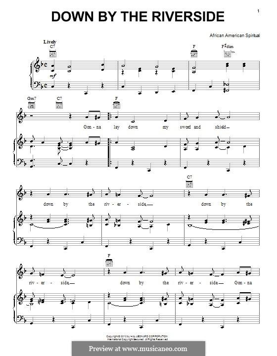 Down By the Riverside: Для голоса и фортепиано (или гитары) by folklore