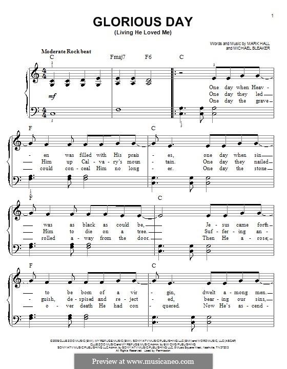 Glorious Day (Living He Loved Me): Для фортепиано (легкий уровень) (Casting Crowns) by Mark Hall, Michael Bleaker