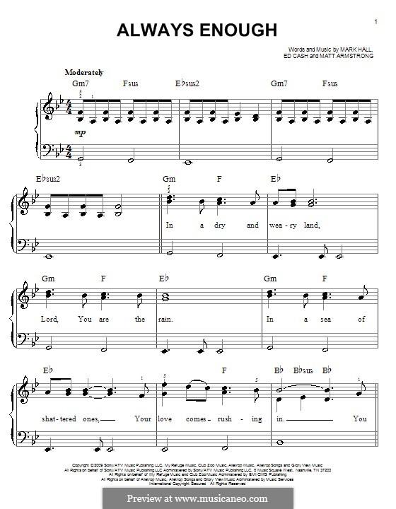 Always Enough (Casting Crowns): Для фортепиано (легкий уровень) by Ed Cash, Mark Hall, Matt Armstrong