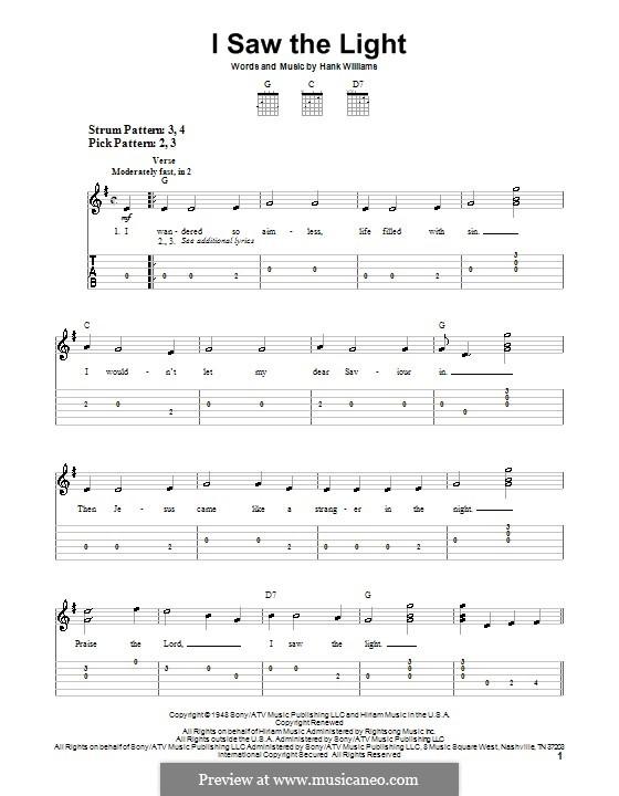 I Saw the Light: Для гитары (очень легкая версия) by Hank Williams