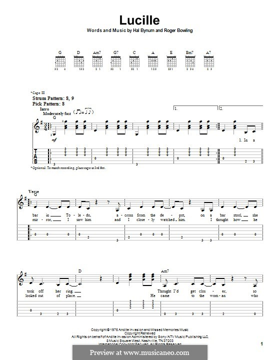 Lucille (Kenny Rogers): For easy guitar with tab by Hal Bynum, Roger Bowling
