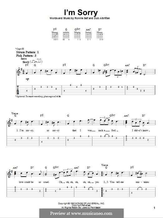 I'm Sorry (Brenda Lee): Для гитары (очень легкая версия) by Dub Albritten, Ronnie Self