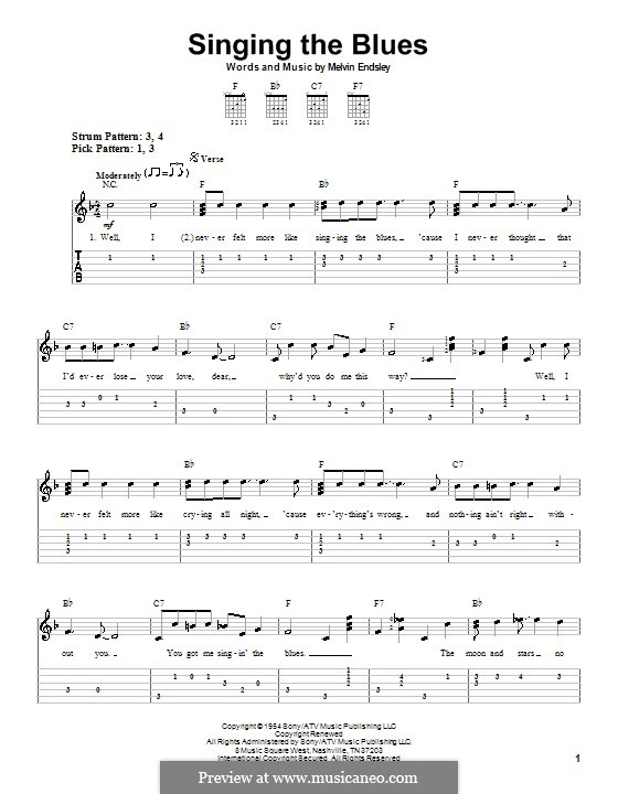 Singing the Blues: For easy guitar with tab (Guy Mitchell) by Melvin Endsley