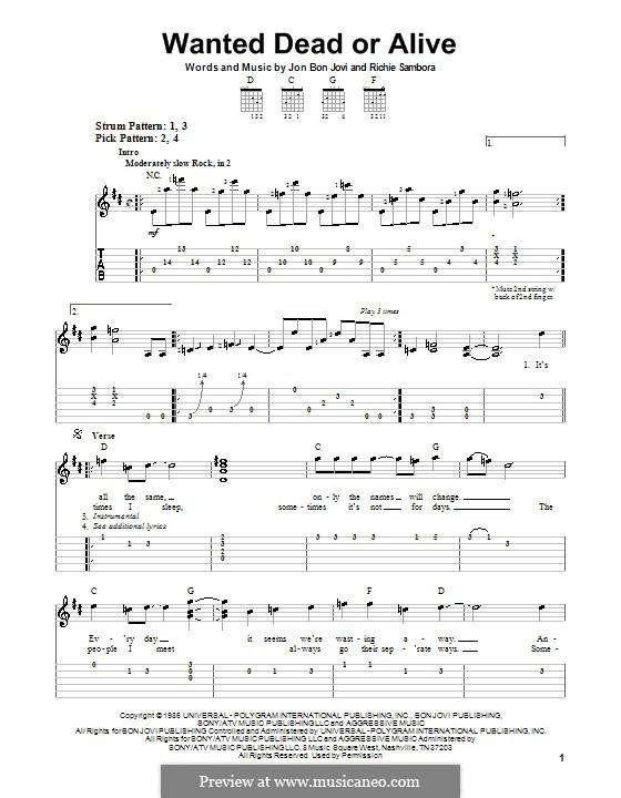 Wanted Dead or Alive (Bon Jovi): Для гитары (очень легкая версия) by Jon Bon Jovi, Richie Sambora