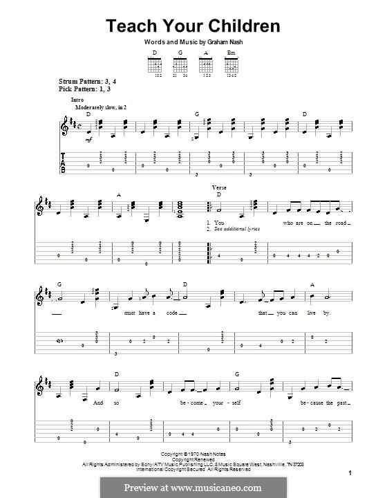 Teach Your Children (Crosby, Stills & Nash): Для гитары (очень легкая версия) by Graham Nash