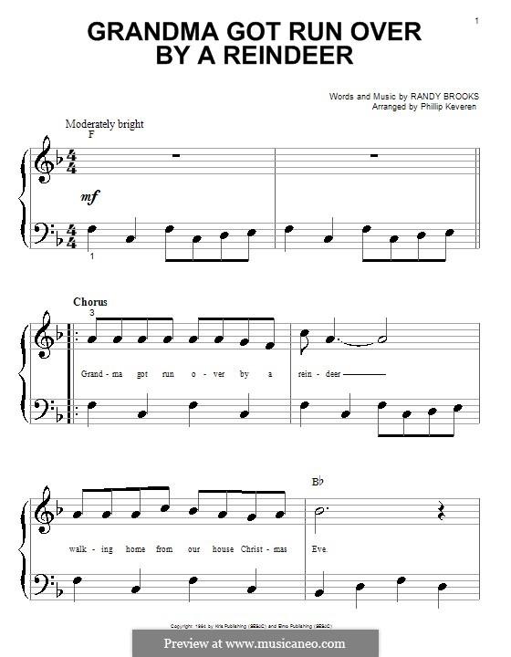 Grandma Got Run Over By a Reindeer: Для фортепиано (очень легкая версия) by Randy Brooks
