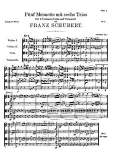 Пять менуэтов и шесть трио для струнных, D.89: Пять менуэтов и шесть трио для струнных by Франц Шуберт