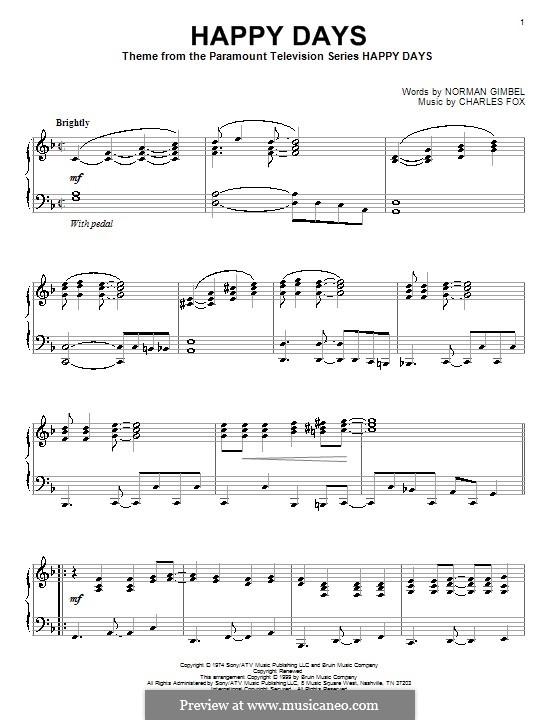 Happy Days: Для фортепиано by Charles Fox