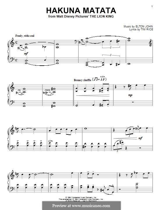 Hakuna Matata (from The Lion King): Для фортепиано by Elton John
