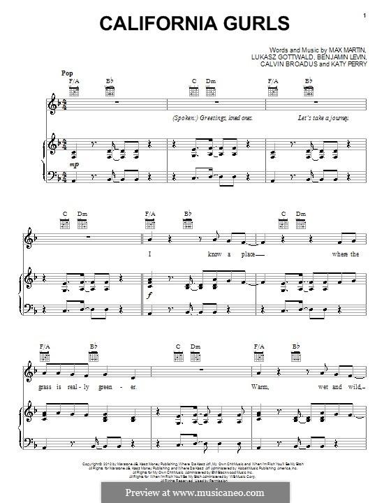 California Gurls (Katy Perry feat. Snoop Dogg): Для голоса и фортепиано (или гитары) by Bonnie McKee, Cordozar Calvin Broadus, Katy Perry, Lukas Gottwald, Max Martin