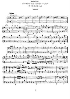 Восемь вариаций на тему из оперы 'Мария' Герольда, D.908 Op.82 No.1: Партии by Франц Шуберт