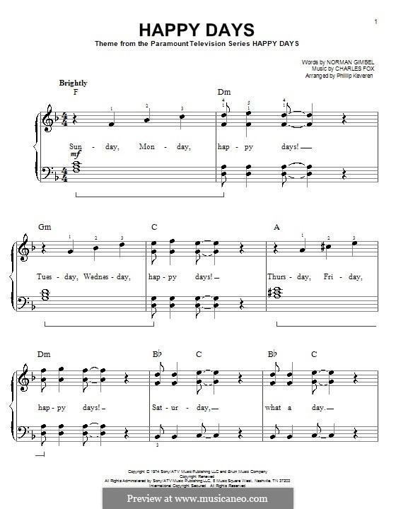 Happy Days: Для фортепиано (легкий уровень) by Charles Fox