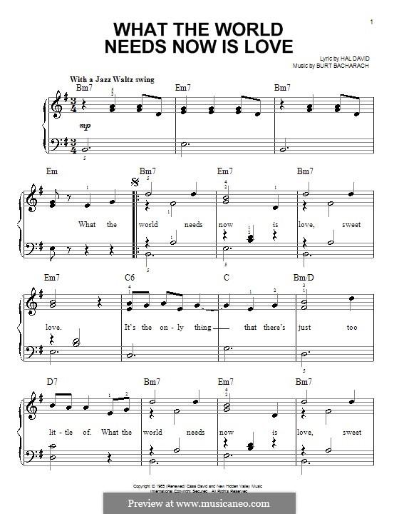 What the World Needs Now Is Love: Для фортепиано (легкий уровень) by Burt Bacharach