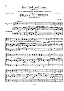 Das Lied im Grünen (Song in the Country), D.917 Op.115 No.1: Das Lied im Grünen (Song in the Country) by Франц Шуберт