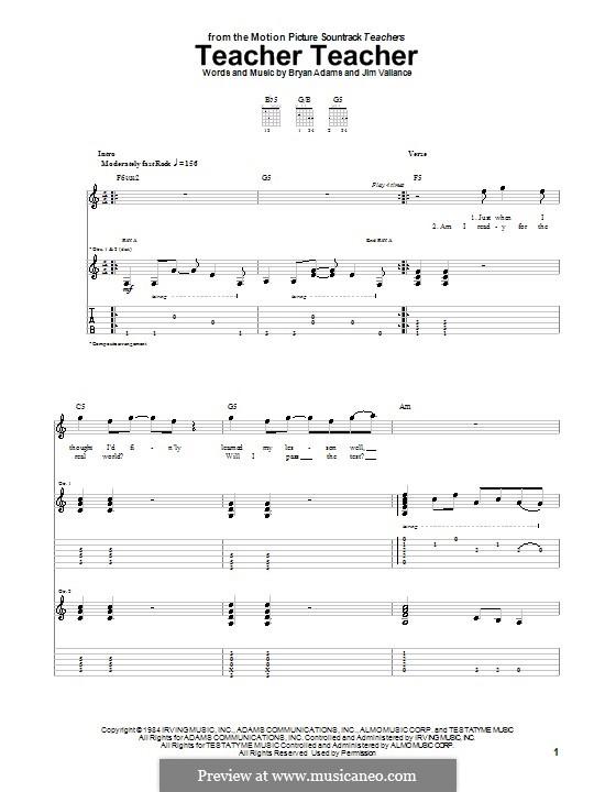 Teacher Teacher (38 Special): Для гитары с табулатурой by Bryan Adams, Jim Vallance
