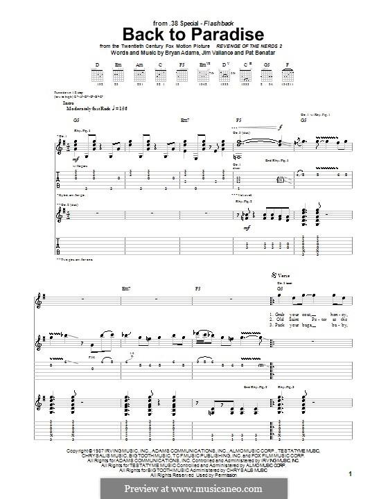 Back to Paradise (38 Special): Для гитары с табулатурой by Bryan Adams, Jim Vallance, Pat Benatar