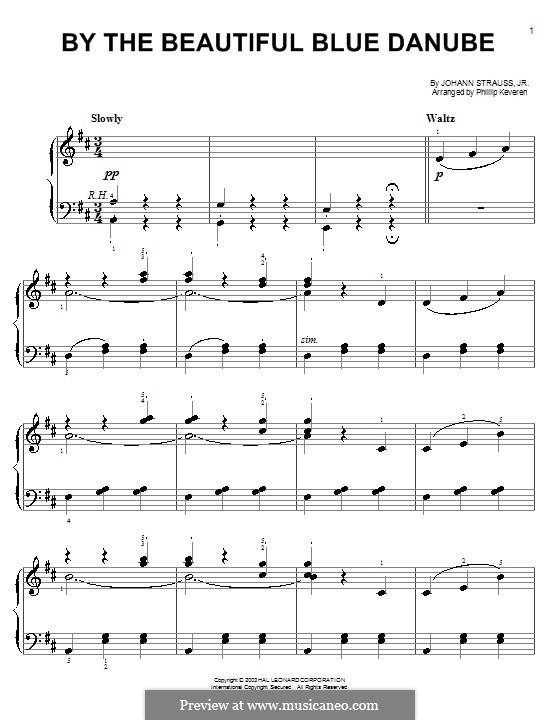 На прекрасном голубом Дунае, для фортепиано, Op.314: Легкая версия для фортепиано by Иоганн Штраус (младший)