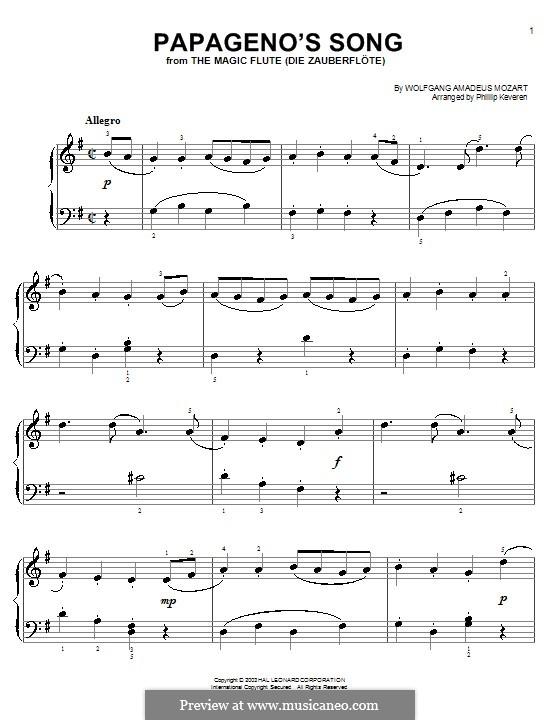 Ария Папагено: Версия для начинающего пианиста by Вольфганг Амадей Моцарт