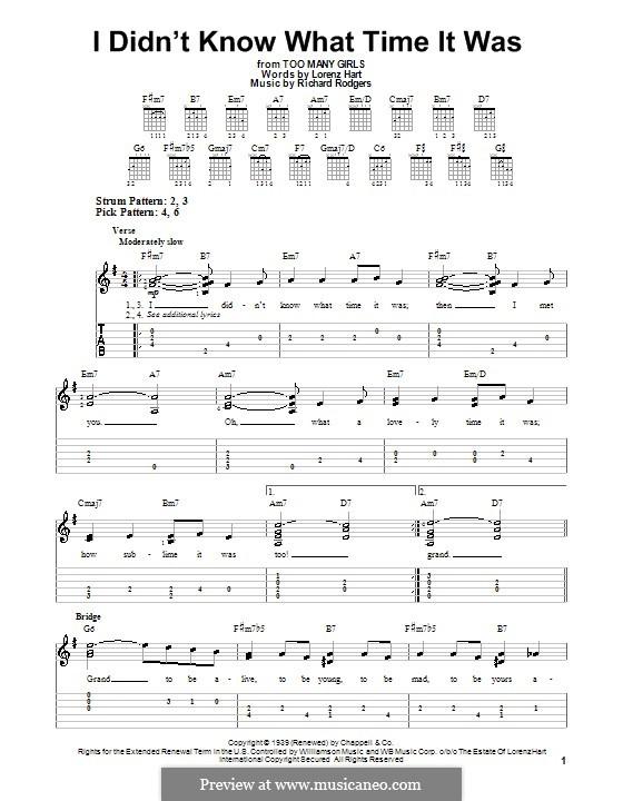 I didn't Know What Time it Was: Для гитары (легкий уровень) с табулатурой by Richard Rodgers