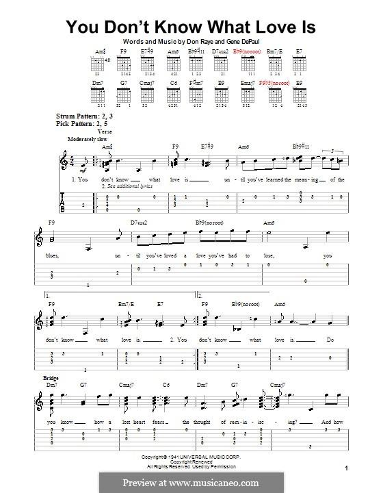 You Don't Know What Love Is: Для гитары (очень легкая версия) by Don Raye, Gene de Paul