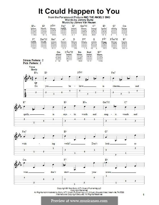 It Could Happen to You: Для гитары (очень легкая версия) by Jimmy Van Heusen