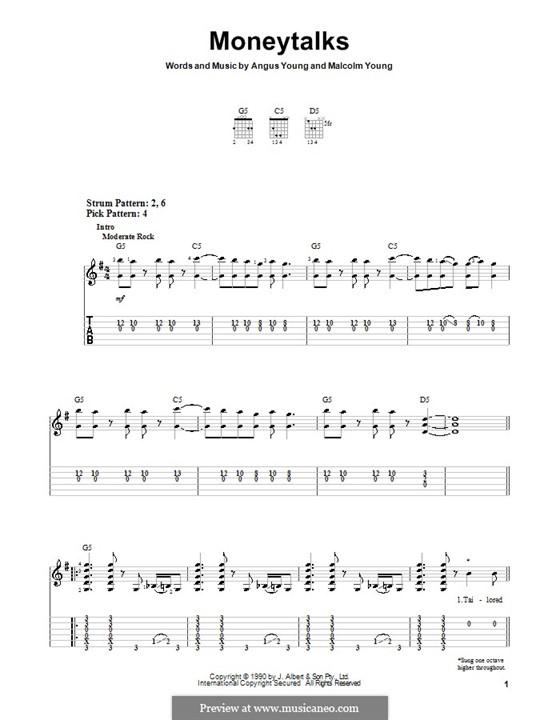 Moneytalks (AC/DC): Для гитары (очень легкая версия) by Angus Young, Malcolm Young