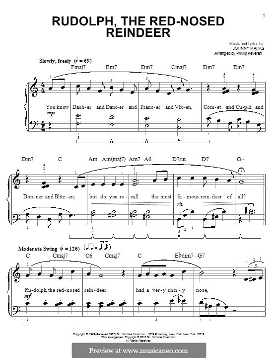 Rudolph the Red-Nosed Reindeer: Для фортепиано (легкий уровень) by Johnny Marks