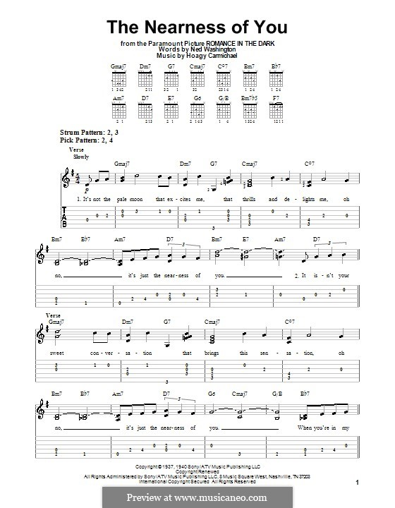 The Nearness of You: Легкая гитарная табулатура by Hoagy Carmichael