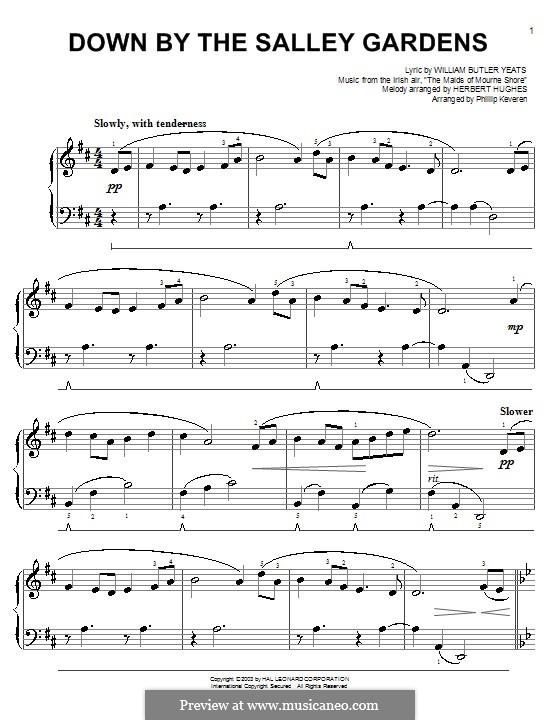 Down By the Sally Gardens: Для фортепиано (легкий уровень) by folklore
