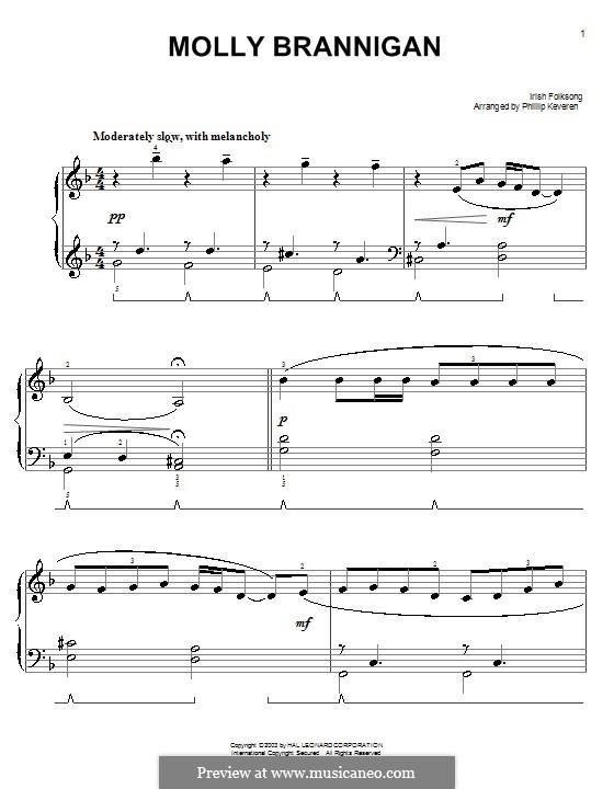 Molly Brannigan: Для фортепиано (легкий уровень) by folklore
