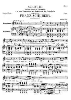 Сонет No.3 до мажор, D.630: Для голоса и фортепиано by Франц Шуберт