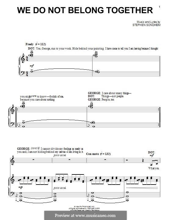 We Do Not Belong Together: Для голоса и фортепиано (или гитары) by Stephen Sondheim