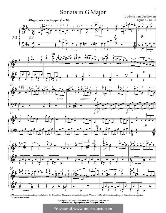 Соната для фортепиано No.20, Op.49 No.2: Для одного исполнителя (ноты высокого качества) by Людвиг ван Бетховен