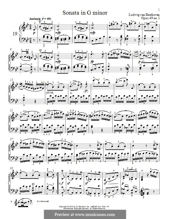 Соната для фортепиано No.19, Op.49 No.1: Для одного исполнителя (ноты высокого качества) by Людвиг ван Бетховен