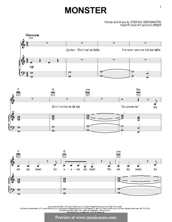 Monster (Lady Gaga): Для голоса и фортепиано (или гитары) by RedOne, Nick Dresti, Stefani Germanotta