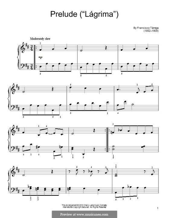 Слеза. Прелюдия: Для фортепиано (легкий уровень) by Франсиско Таррега