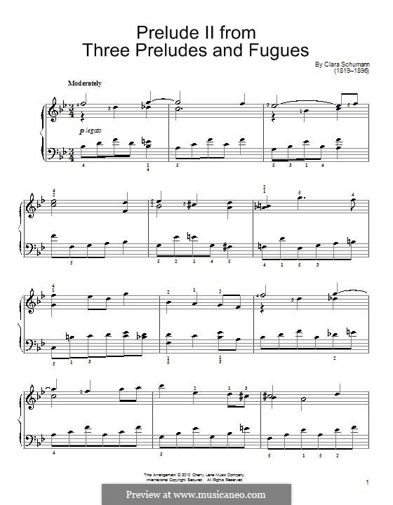 Три прелюдии и фуги, Op.16: Прелюдия No.2 by Клара Шуман