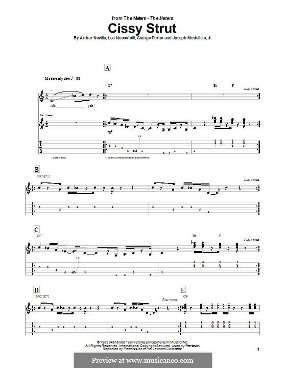 Cissy Strut (The Meters): Для гитары с табулатурой by Arthur Neville, George Porter, Joseph Modeliste Jr., Leo Nocentelli