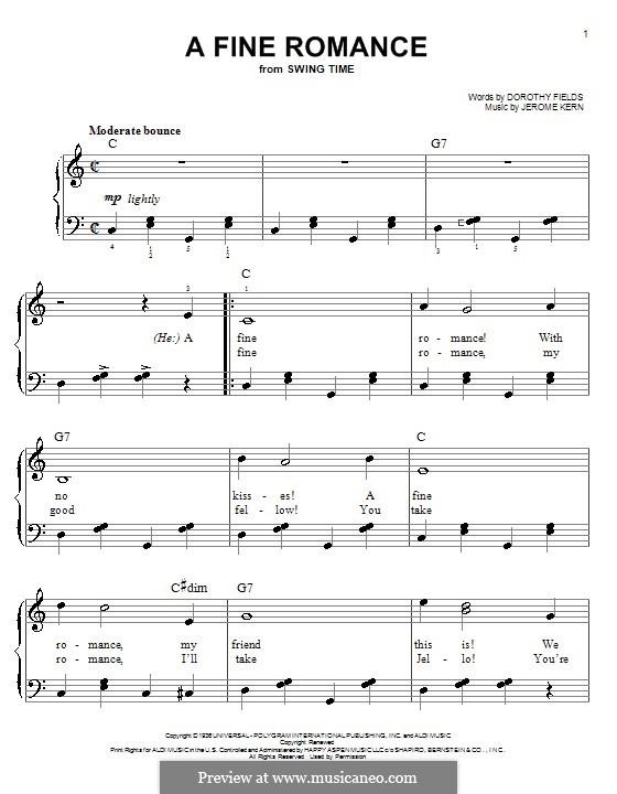 A Fine Romance: Для фортепиано (легкий уровень) by Джером Керн
