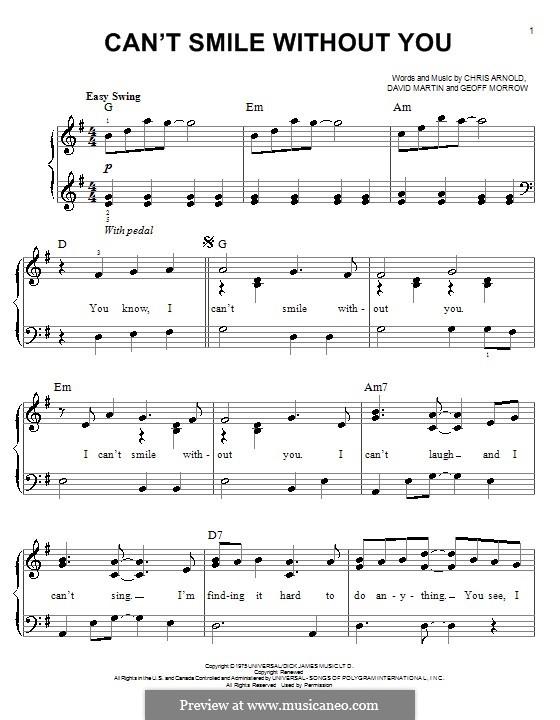 Can't Smile without You (Barry Manilow): Для фортепиано (легкий уровень) by Chris Arnold, David Martin, Geoff Morrow