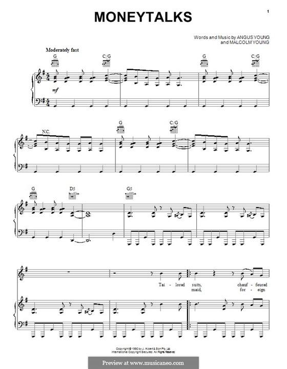 Moneytalks (AC/DC): Для голоса и фортепиано (или гитары) by Angus Young, Malcolm Young