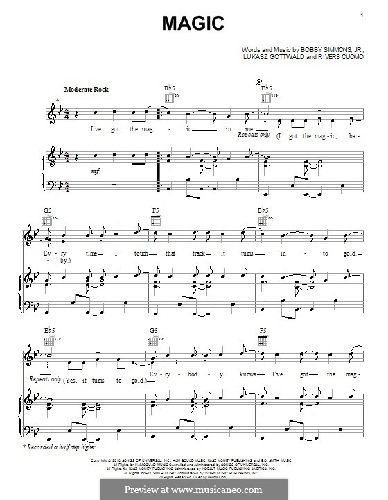 Magic (B.o.B. featuring Rivers Cuomo): Для голоса и фортепиано (или гитары) by Bobby Ray Simmons Jr., Lukas Gottwald, Rivers Cuomo