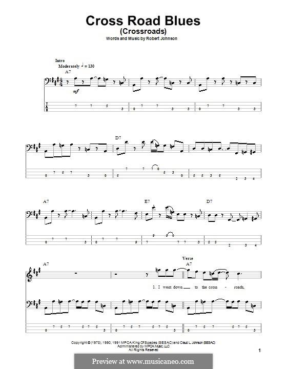 Cross Road Blues (Crossroads): Для бас-гитары с табулатурой by Robert Leroy Johnson