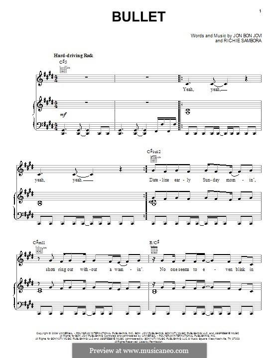 Bullet (Bon Jovi): Для голоса и фортепиано (или гитары) by Jon Bon Jovi, Richie Sambora