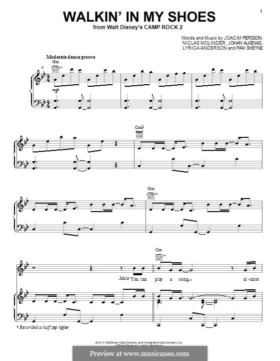 Walkin' in My Shoes (Meaghan Martin): Для голоса и фортепиано (или гитары) by Joacim Persson, Johan Alkenas, Lyrica Anderson, Niclas Molinder, Pamela Sheyne