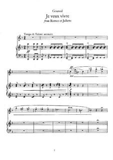 Ромео и Джульетта: Я хочу жить, для голоса и фортепиано by Шарль Гуно